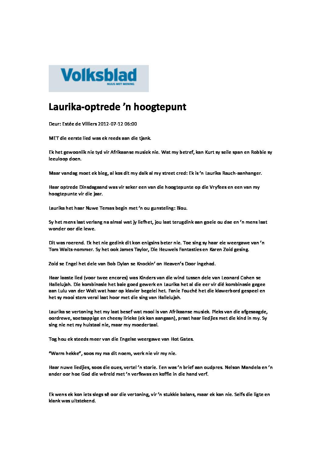 VOLKSBLAD-ARTIKEL